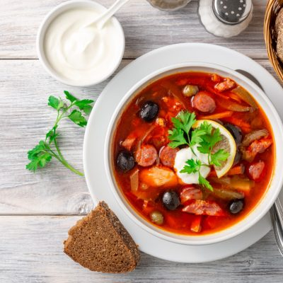 Zupa, Soļanka, Maize, Zaļumi, Recepte